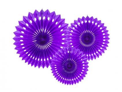 Dekorační rozety fialové 3ks