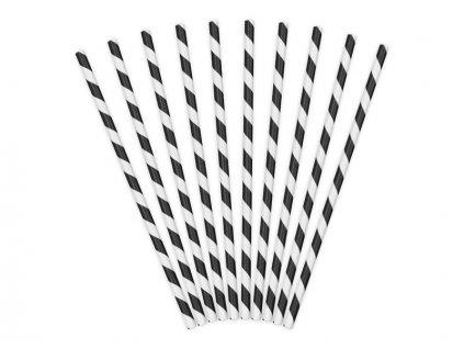 Papírová brčka černá s proužky 10ks