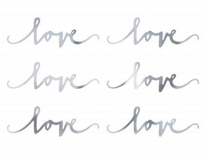 Dekorační nápis Love stříbrný 6ks