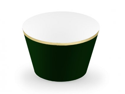 Dekorační košíčky černo zelené se zlatým lemem 6ks