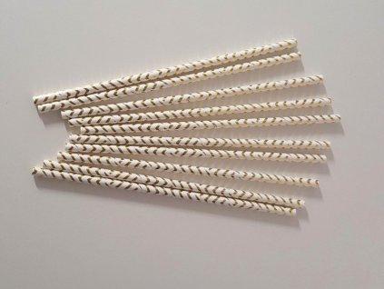 Papírová brčka bílá se zlatými proužky 10ks