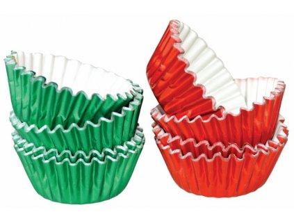 Alobalové košíčky na pralinky 25x17mm, červené a zelené, 50ks