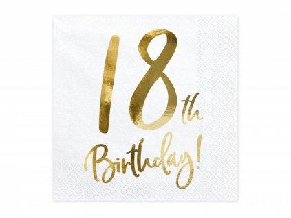 Papírové ubrousky se zlatým číslem 18