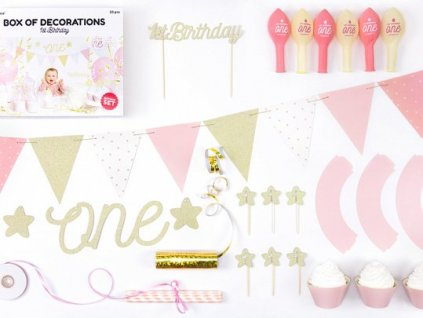 Party set 1st Birthday zlatorůžový