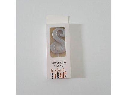Dortová svíčka stříbrná malá, číslo 8