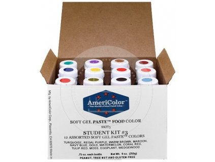 Sada gelových barev Americolor Soft Gel Paste Student 3, 12ks