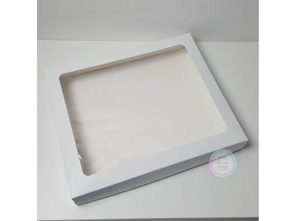 Krabice na makronky a cukroví bílá 1kg, 30 x 25 x 3,7cm