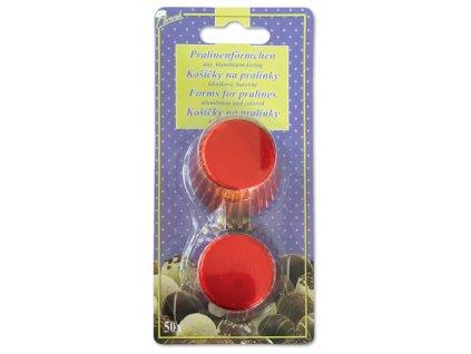 Alobalové košíčky na pralinky 25x17mm, červené, 50ks