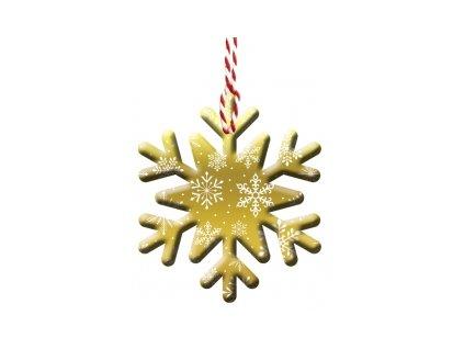 Vánoční jmenovky Vločka zlatá, 4ks