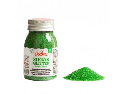 Cukrové zdobení Decora, Třpytkový cukr Green - zelený 100g