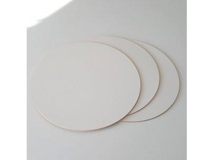 Pevná dřevovláknitá bílá podložka 3ks, pr.22cm - dřevěná hrana