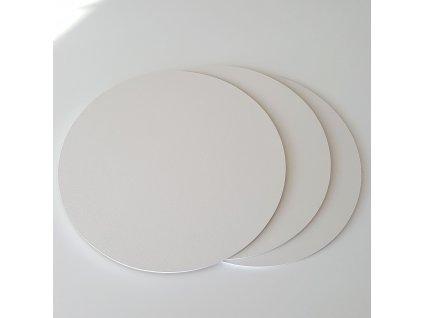 Pevná dřevovláknitá bílá podložka 3ks, pr.25cm - bílá hrana