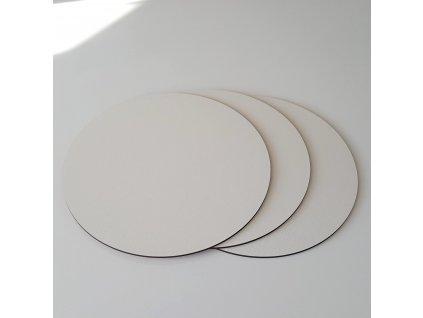 Pevná dřevovláknitá bílá podložka 3ks, pr.25cm - černá hrana