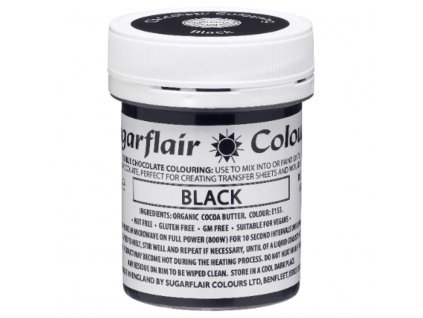 barva do cokolady na bazi kakaoveho masla sugarflair black 35 g