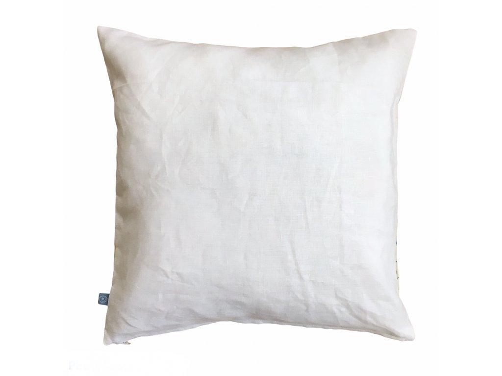 bílý lněný polštář