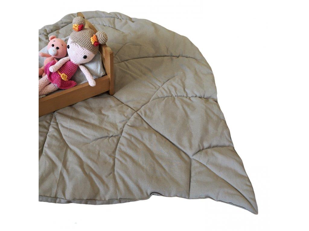hrací deka list 100% len