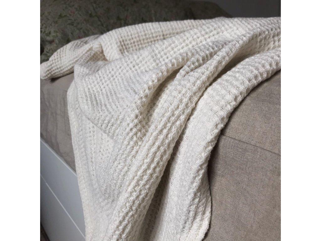 přírodní lněný přehoz na postel