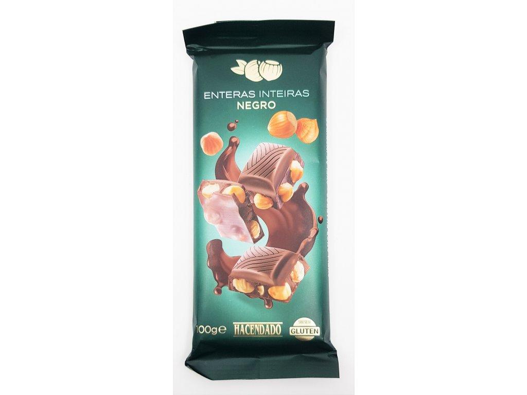 Čokoláda hořká s celými lískovými ořechy