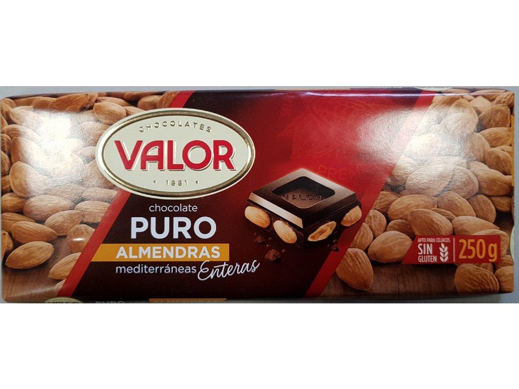 Čokoláda Valor hořká s mandlemi