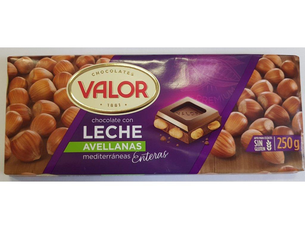 Čokoláda Valor mléčná  s lískovými oříšky
