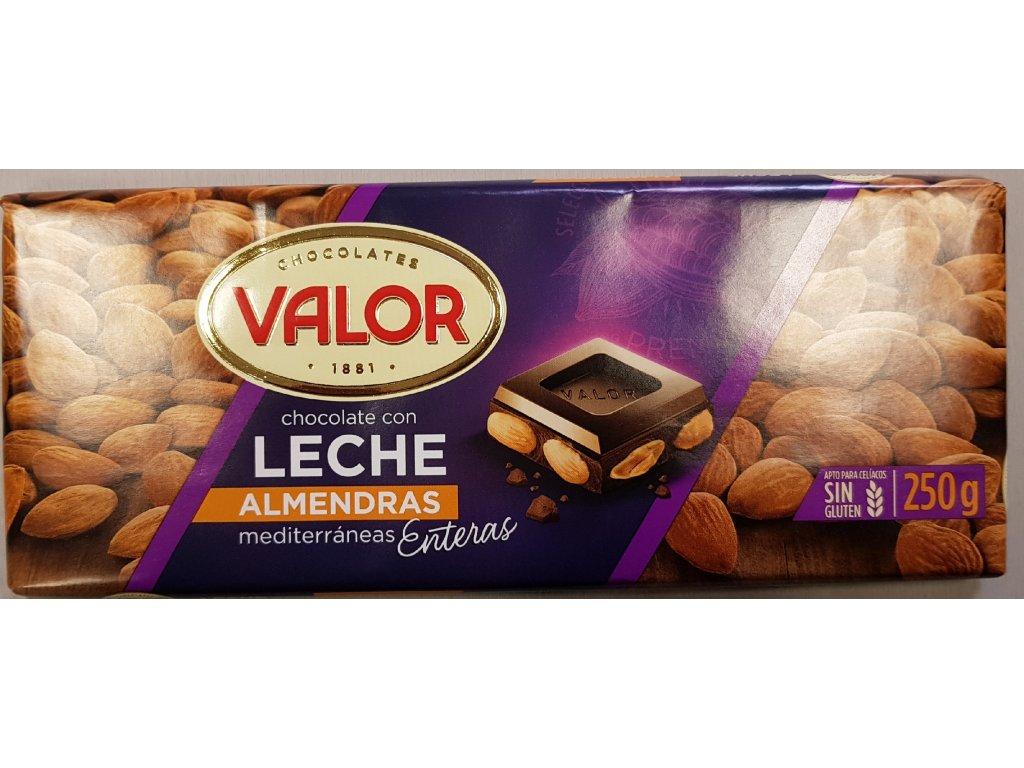 Čokoláda Valor mléčná  s mandlemi