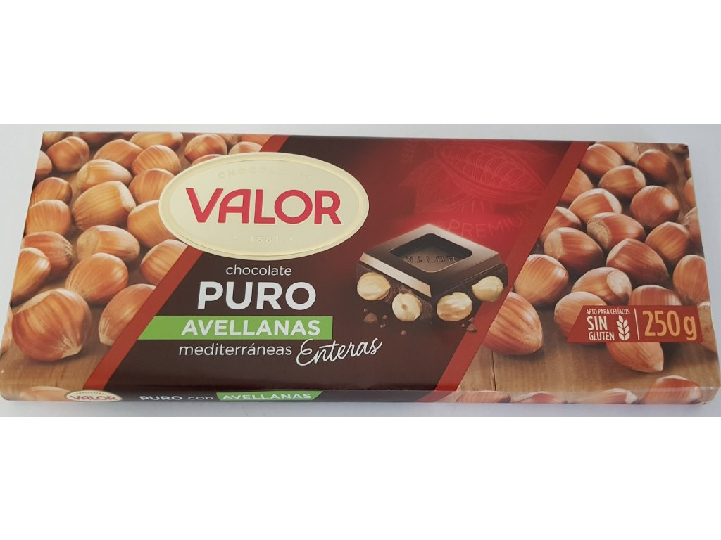 Čokoláda Valor hořká s lískovými oříšky