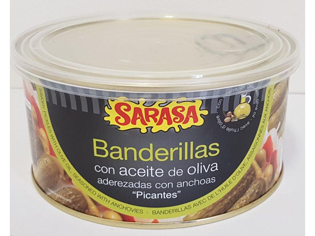Banderillas pikant s ančovičkou a olivovým olejem