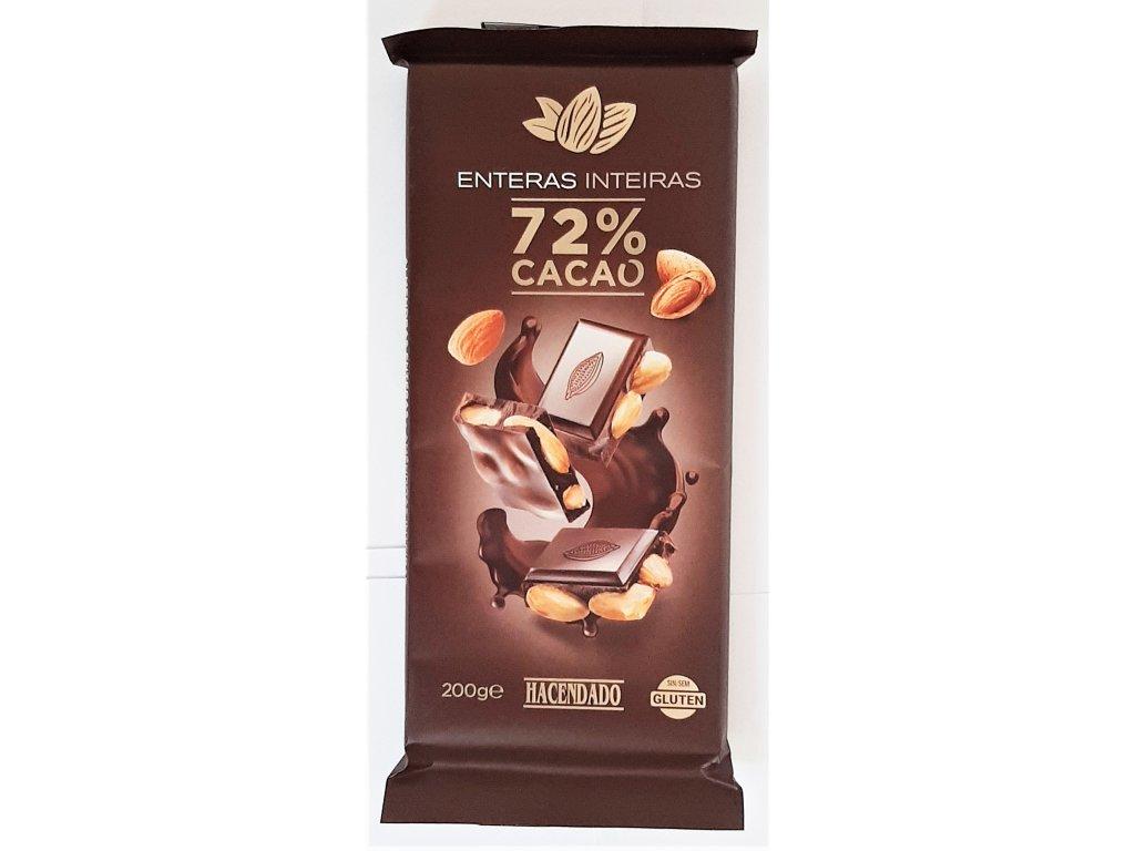 Čokoláda hořká s celými mandlemi 72%