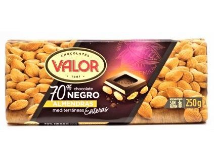 Čokoláda Valor hořká 70% s mandlemi