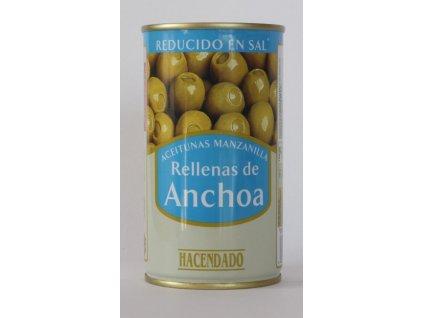 Olivy plněné ančovičkou s nízkým obsahem soli