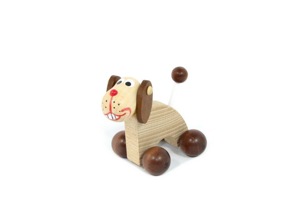 Dřevěný Pes na kolečkách