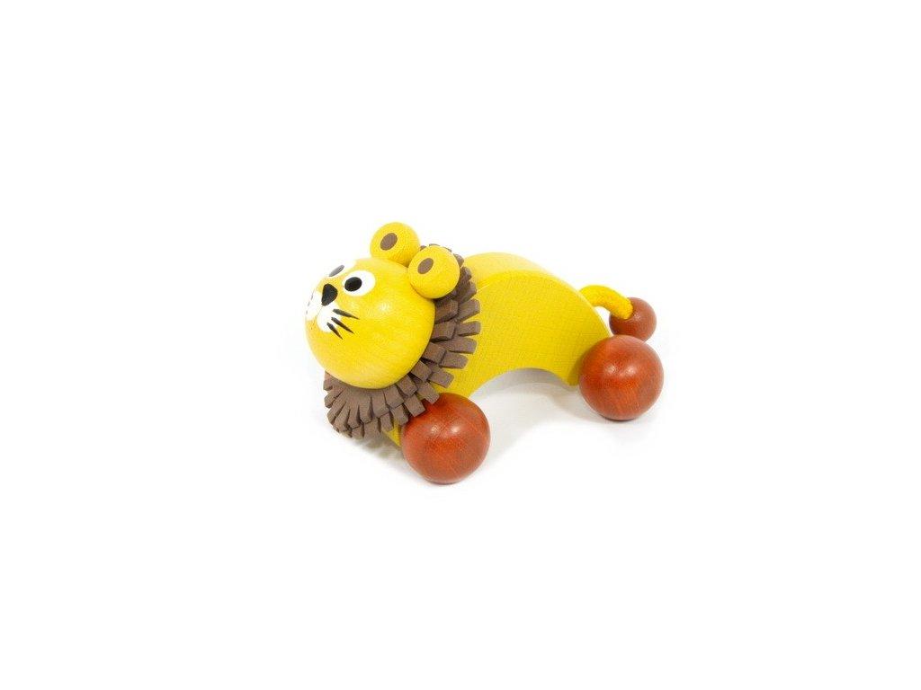 Dřevěný Lev žlutý na kolečkách