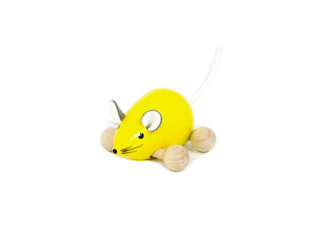 Dřevěná Myška žlutá na kolečkách