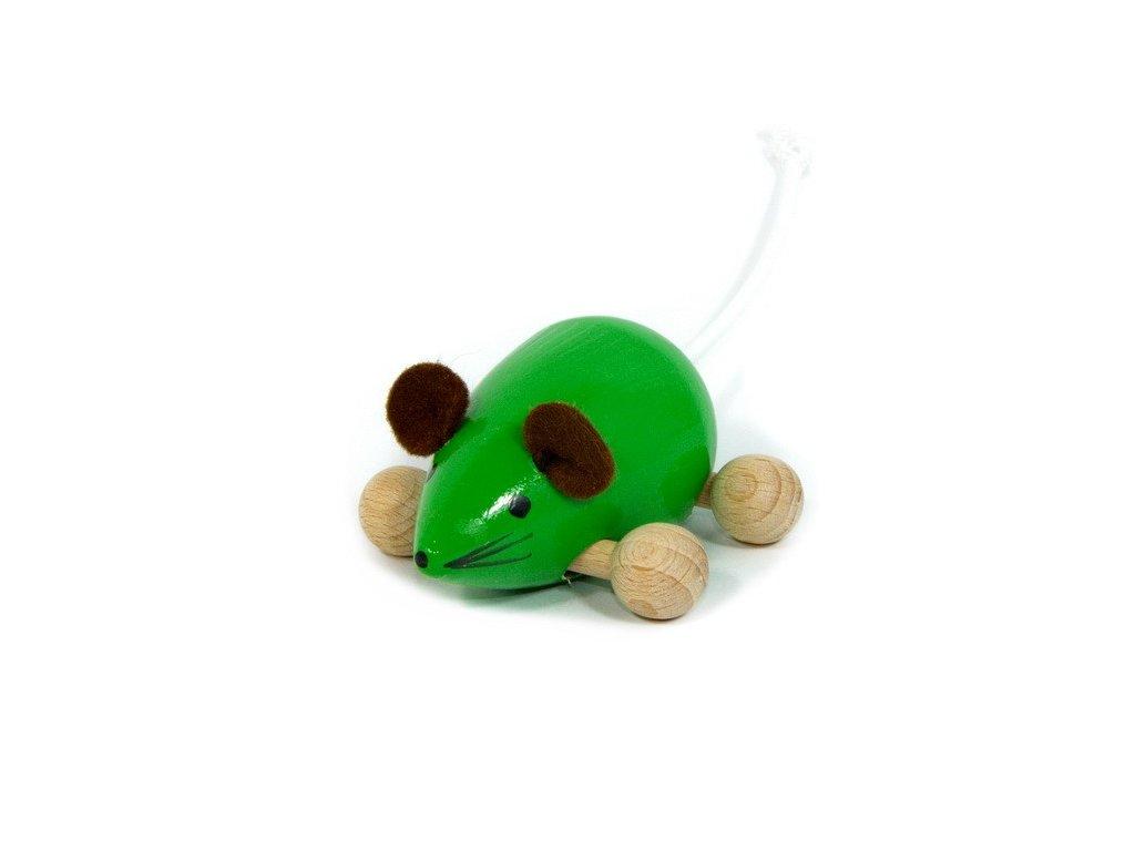 Dřevěná Myška zelená na kolečkách
