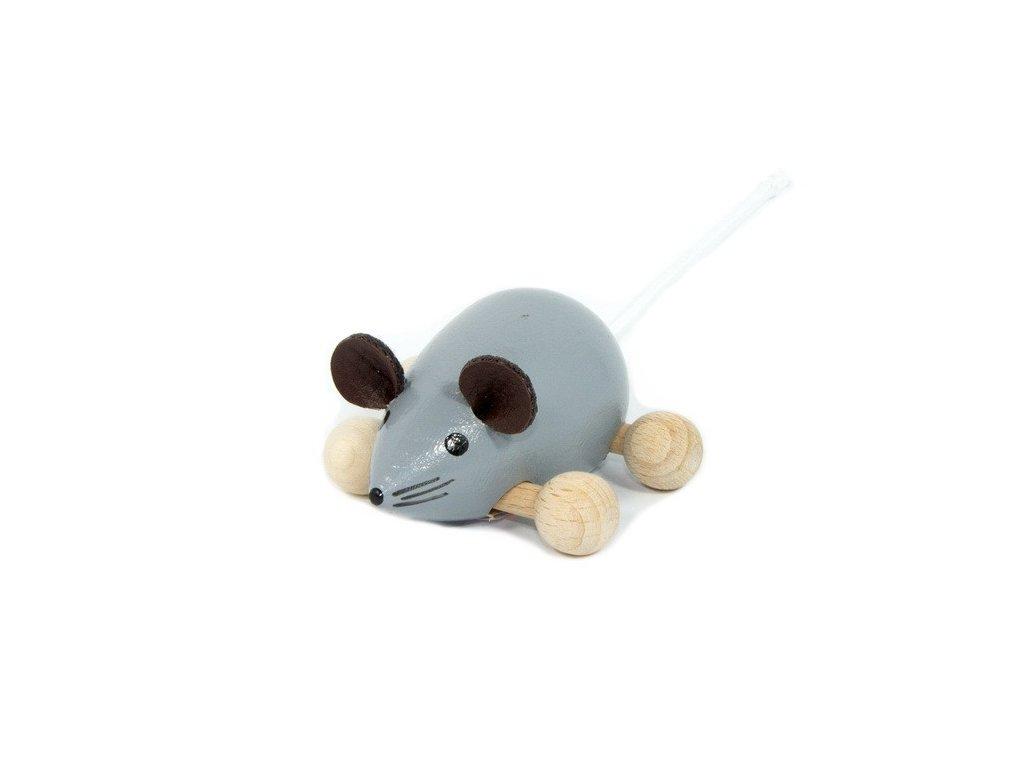 Dřevěná Myška šedá na kolečkách