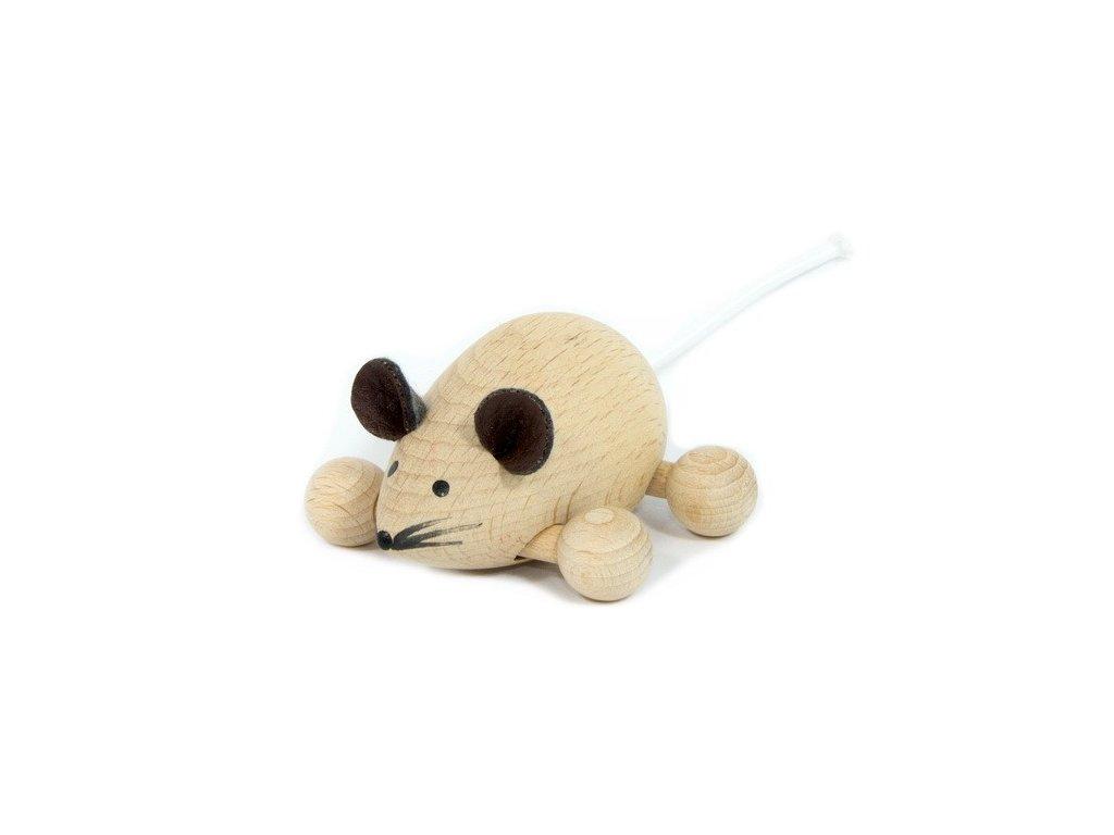 Dřevěná Myška přírodní na kolečkách