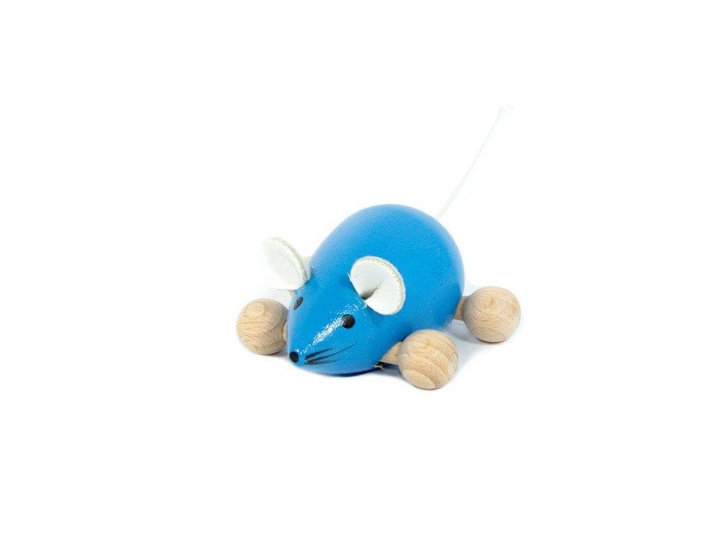 Dřevěná Myška modrá na kolečkách