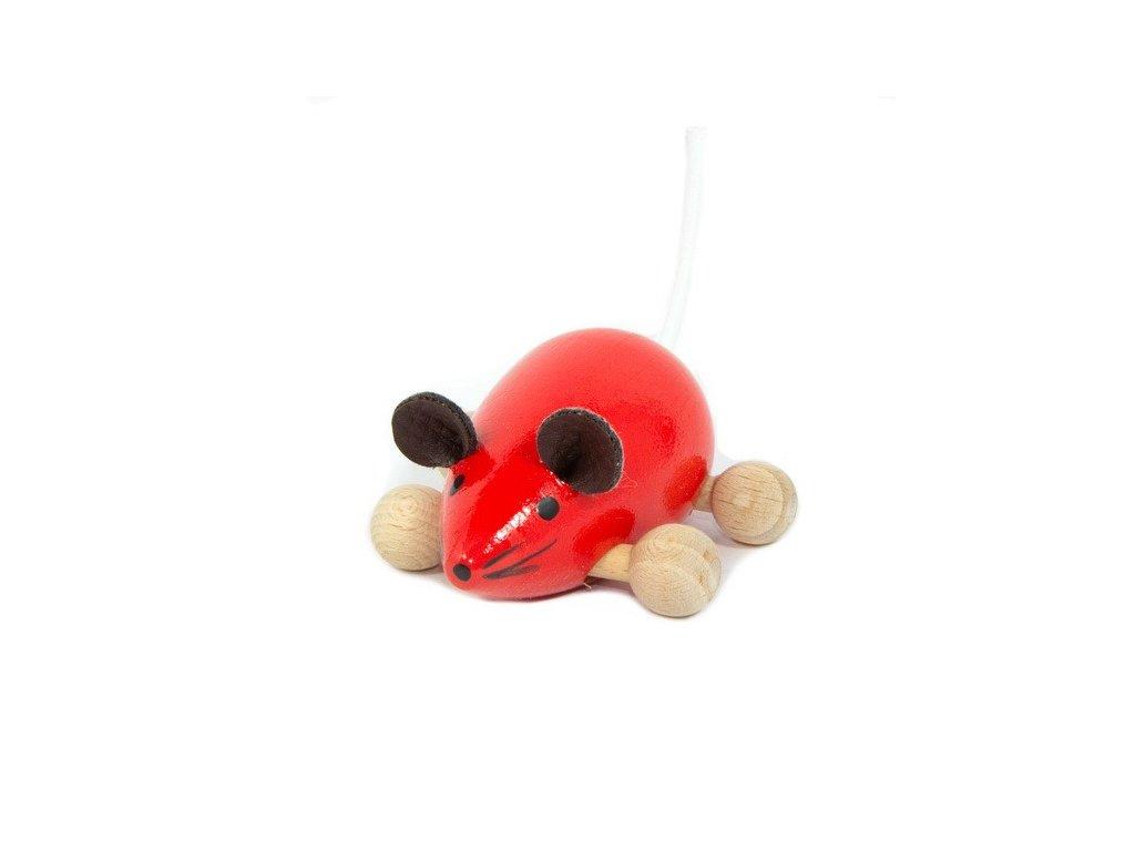 Dřevěná Myška červená na kolečkách