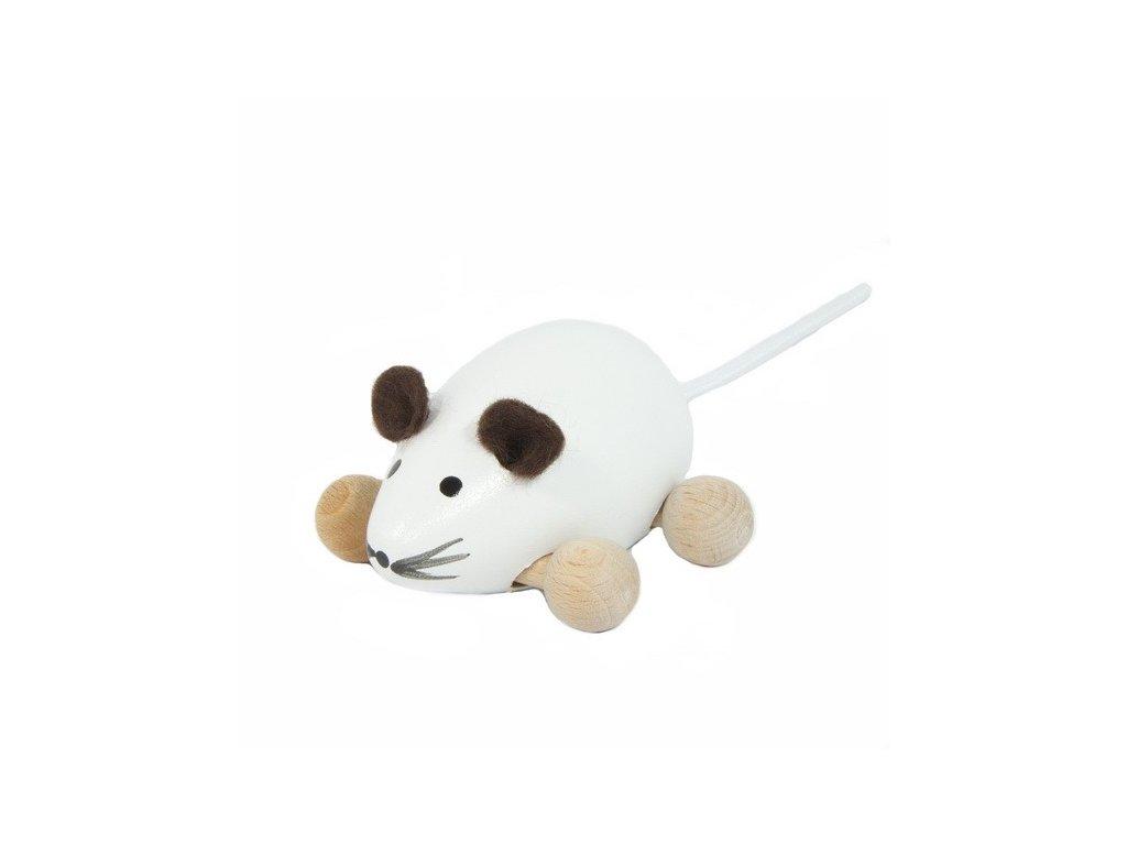 Dřevěná Myška bílá na kolečkách