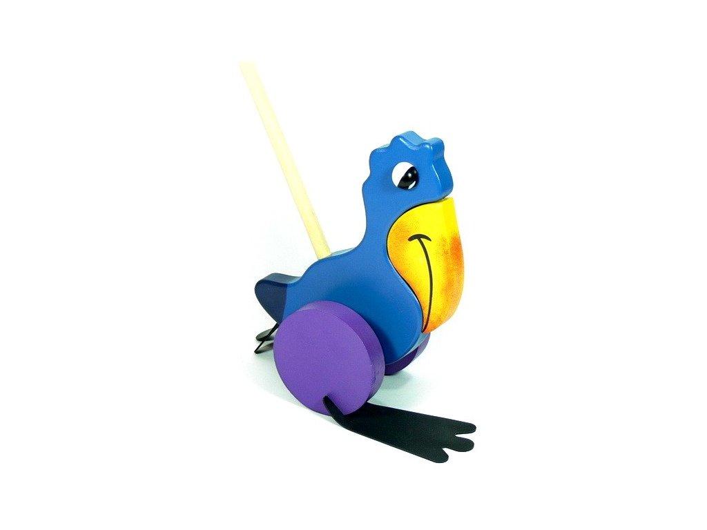 Modrý papoušek na tyči (doprodej)