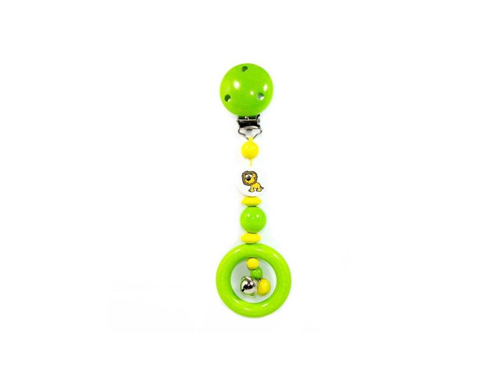 Zelený klip se lvem - závěsná hračka