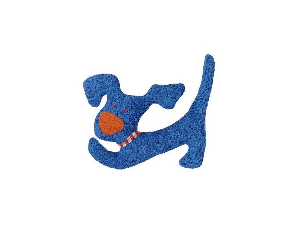 Modrý pejsek BIO bavlna – mazlíček s chrastítkem