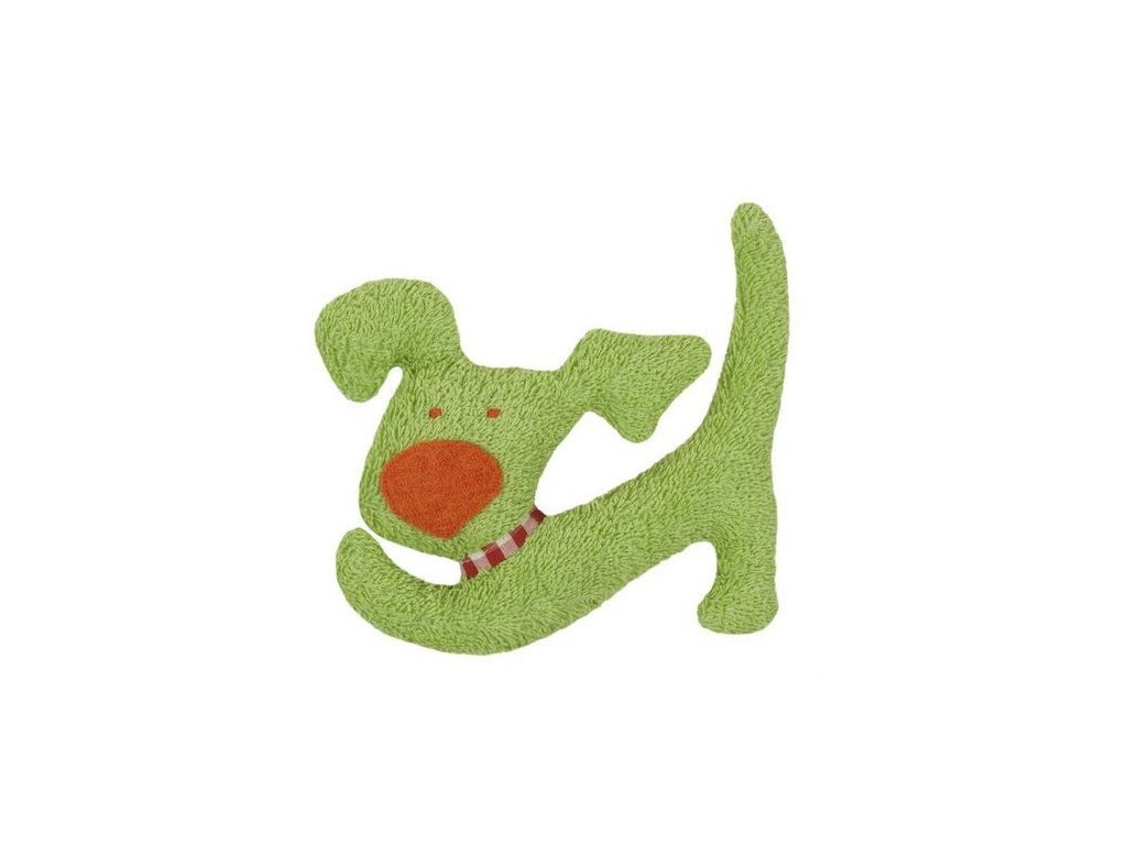 Zelený pejsek BIO bavlna – mazlíček s chrastítkem