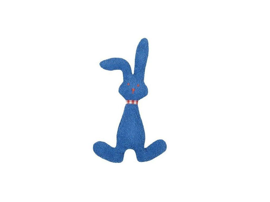 Modrý zajíček BIO bavlna – mazlíček s chrastítkem