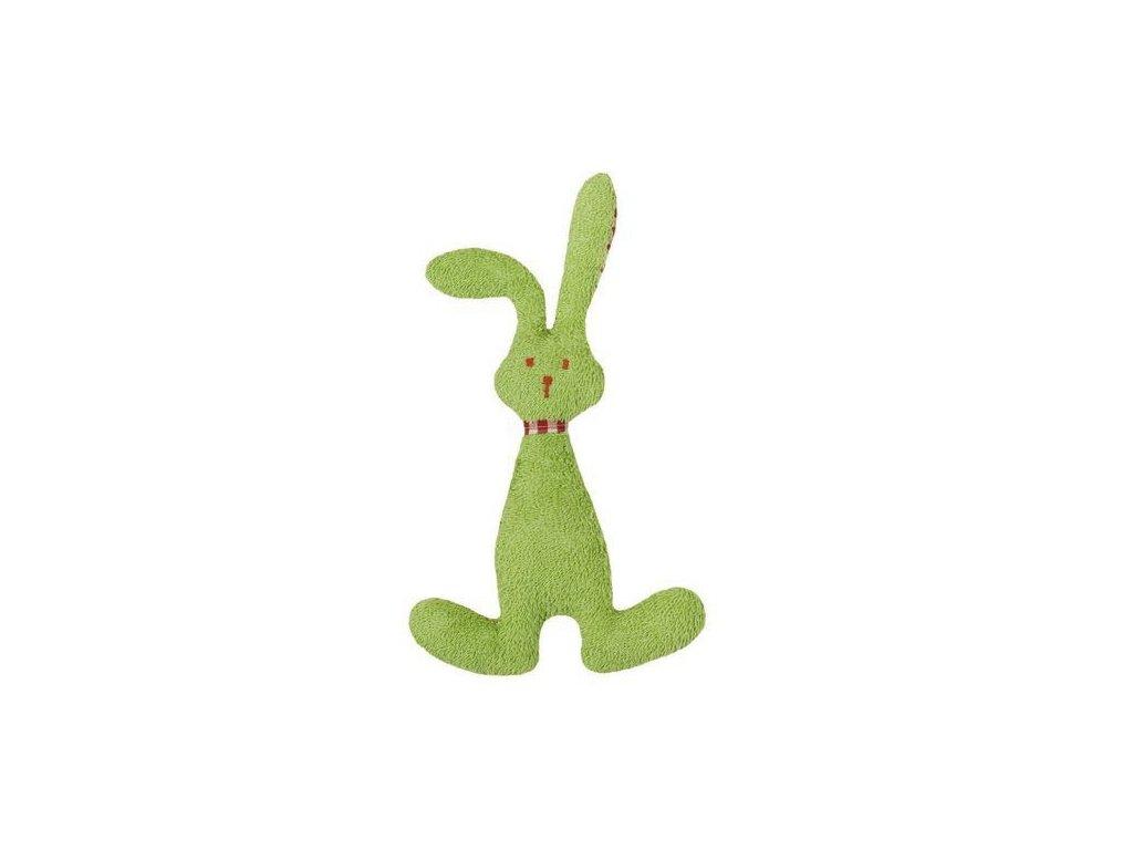 Zelený zajíček BIO bavlna – mazlíček s chrastítkem