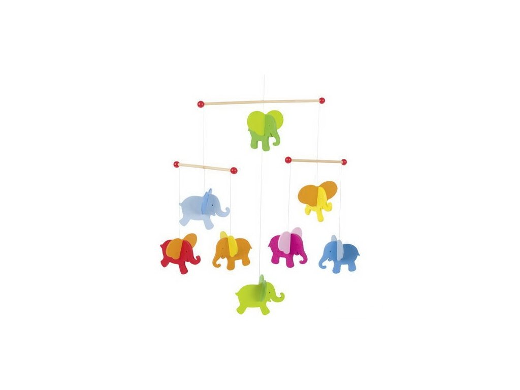Dřevěný závěsný kolotoč – Sloni