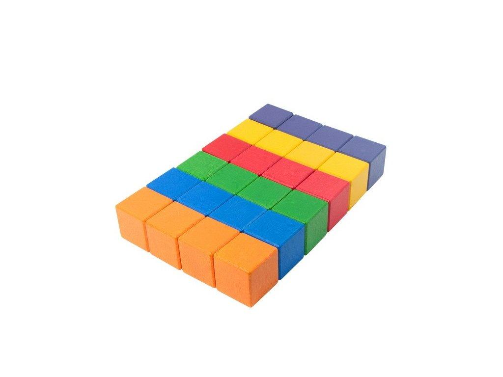 Velké dřevěné kostky 5 cm (6 barev) - 24 ks