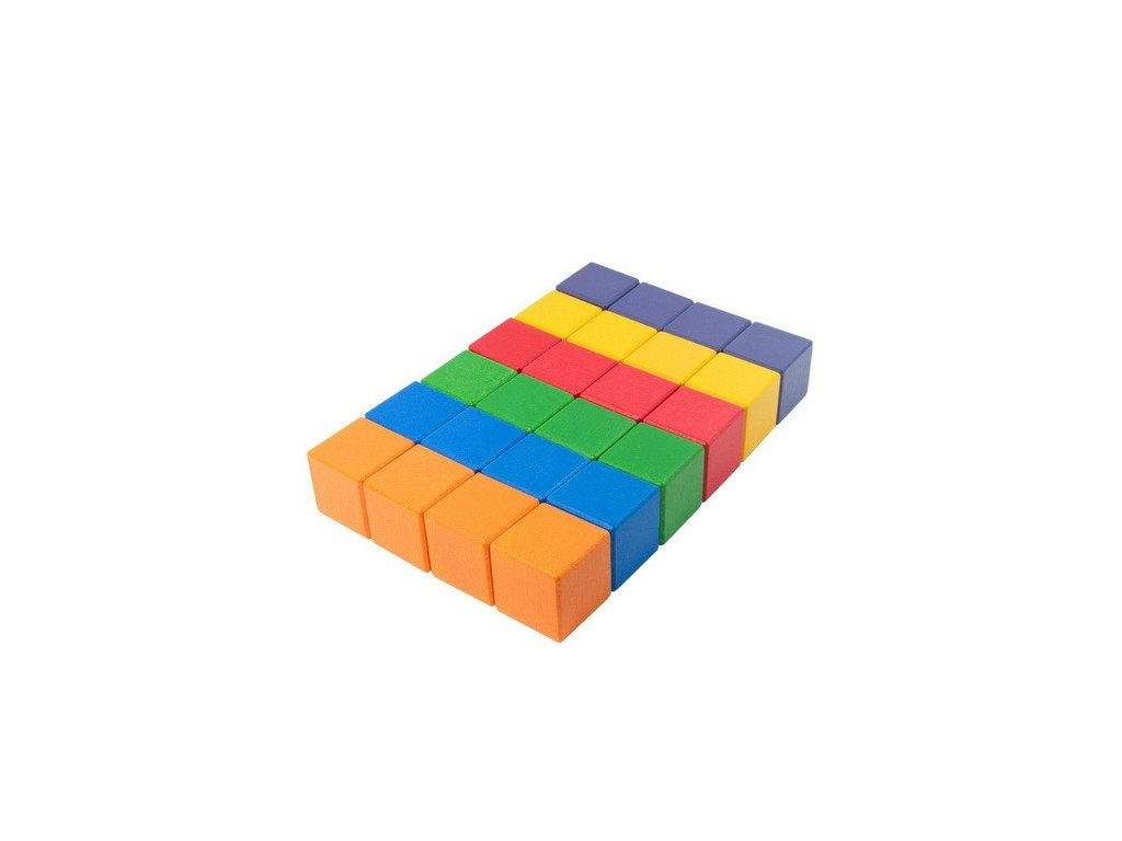 Dřevěné kostky 4 cm (6 barev) - 24 ks