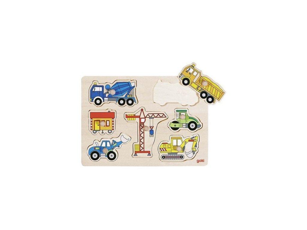 Stavební auta – dřevěné puzzle pro nejmenší