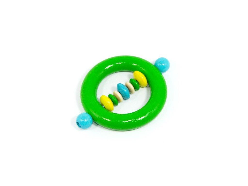 Zelený kroužek s korálky